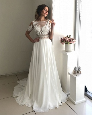 Gorgeous Long Sleeve 2020 Wedding Dress | Lace Appliques Chiffon Bridal Gowns _3