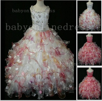 Floor-length Girls Pageant Dresses for Sale Inexpensive Colorful New Design Straps Beaded Gowns_1