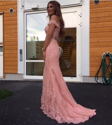 Glamorous Off-the-Shoulder Mermaid Lace 2020 Evening Dress On Sale_3
