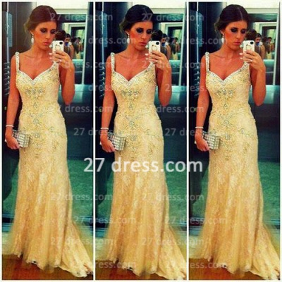 High Quality Turkish Prom Dress Spagetti Strap Lace Sheath Evening Dresses From Dubai_1