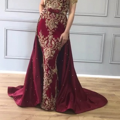 Luxury Over Skirt Mermaid Prom Dresses | V-Neck Tassel Sleeves Gold Appliques Evening Gowns BC0705_2