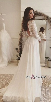 Long-Sleeves Sexy 2020 Chiffon V-neck Lace Wedding Dress BA4172_3