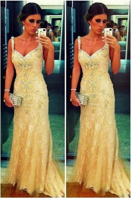 High Quality Turkish Prom Dress Spagetti Strap Lace Sheath Evening Dresses From Dubai_2