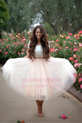 2020 Lace Two-Pieces Tulle Cheap A-line Short-Sleeves Homecoming Dress_1
