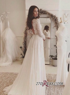 Long-Sleeves Sexy 2020 Chiffon V-neck Lace Wedding Dress BA4172_1