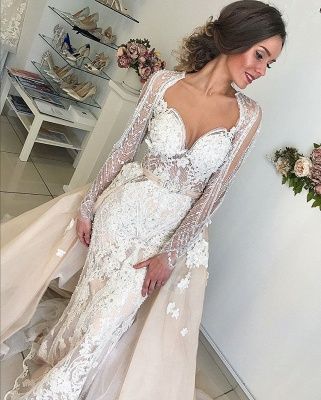 Beautiful Long Sleeve V-Neck Wedding Dresses | 2020 Mermaid Overskirt Bridal Gowns On Sale_4