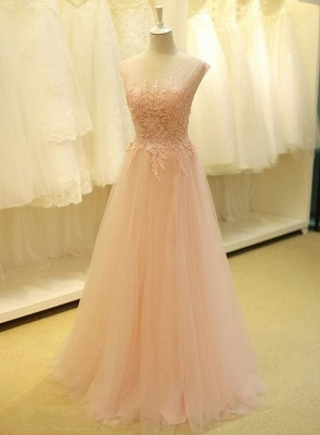 Lovely Color Cap Sleeve Tulle Prom Dress With Lace Appliques_1