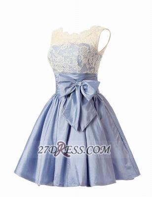 Lovely Illusion Cap Strap Cocktail Dress Lace Appliques Bowknot Short Homecoming Gown_2