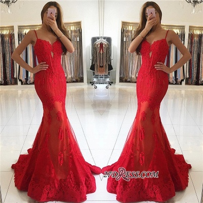 Red Mermaid Spaghetti-Strap Lace Gorgeous Evening Dress_1