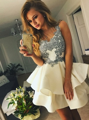 Lovely Sleeveless Short Prom Dress | 2020 Homecoming Dress With Appliques BC1637_1