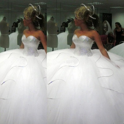 Stunning Sweetheart Ball Gown Wedding Dresses 2020 Sequins Tulle_3