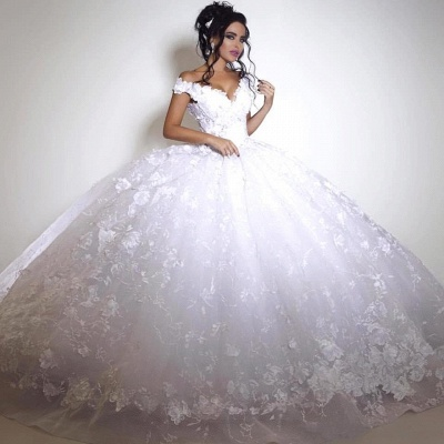 Glamorous Off-the-shoulder 2020 Wedding Dress Ball Gown tulle Appliques White_3