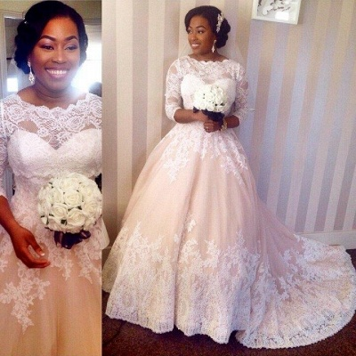 Modest 3/4 Sleeves Lace Wedding Dresses Scalloped-Edge Court Train Bridal Gowns_1