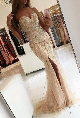 Gorgeous Sweetheart 2020 Evening Dress Mermaid Front Split With Beadings BA9009_1