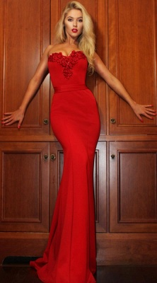 Gorgeous Sweetheart Red Evening Gowns | 2020 Mermaid Zipper Prom Gowns On Sale_4