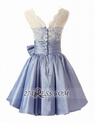Lovely Illusion Cap Strap Cocktail Dress Lace Appliques Bowknot Short Homecoming Gown_3