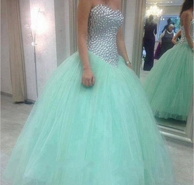 Glamorous Sweetheart Mint Green 2020 Wedding Dresses Crystal Tulle Ball Gown Prom Gowns_3