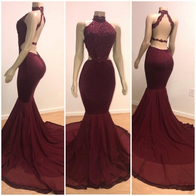 Gorgeous Burgundy Lace Prom Dresses | 2020 Sleeveless Long Evening Gowns_2