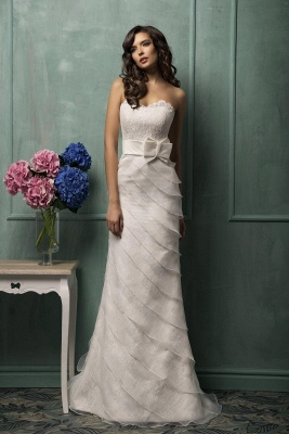 Modern Sweetheart Sleeveless A-line Wedding Dress With Lace Appliques_1