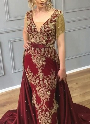 Luxury Over Skirt Mermaid Prom Dresses | V-Neck Tassel Sleeves Gold Appliques Evening Gowns BC0705_6