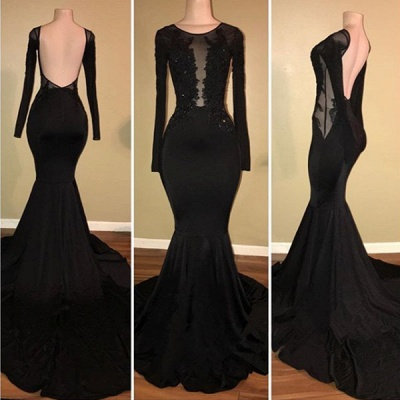 Sexy Black Mermaid 2020 Prom Dress Long Sleeve With Lace Appliques BA7880_3