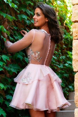 Elegant Half-Sleeve 2020 Short Homecoming Dress | Tulle Layers Short Party Dress_3