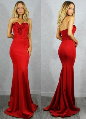 Gorgeous Sweetheart Red Evening Gowns | 2020 Mermaid Zipper Prom Gowns On Sale_1
