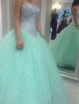 Glamorous Sweetheart Mint Green 2020 Wedding Dresses Crystal Tulle Ball Gown Prom Gowns_1