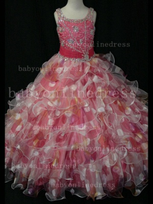 Floor-length Girls Pageant Dresses for Sale Inexpensive Colorful New Design Straps Beaded Gowns_6