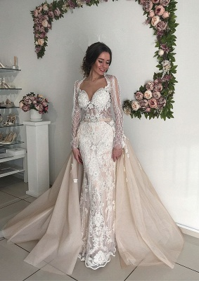 Beautiful Long Sleeve V-Neck Wedding Dresses | 2020 Mermaid Overskirt Bridal Gowns On Sale_2