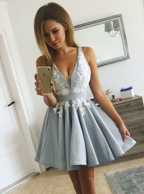 Delicate V-neck Lace Beads Homecoming Dress | Sleeveless A-line Short Formal Dress_1