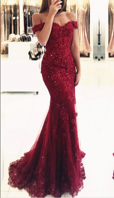 2020 Appliques Off-the-shoulder Red Lace Glamorous Mermaid Evening Dress_3