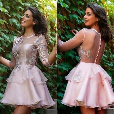 Elegant Half-Sleeve 2020 Short Homecoming Dress | Tulle Layers Short Party Dress_4