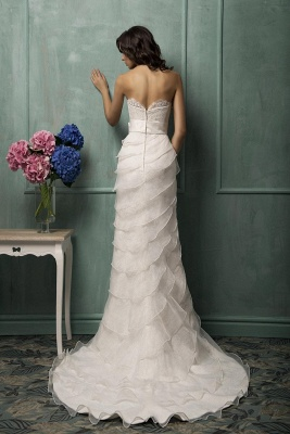 Modern Sweetheart Sleeveless A-line Wedding Dress With Lace Appliques_2