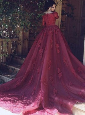Popular Bateau Half-sleeves Empire Prom Dress | Lace Applique Evening Gown Overskirt_2