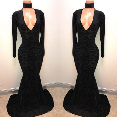 Black Lace V-Neck Prom Dress | 2020 Mermaid Long-Sleeve Evening Gowns BA8512_3