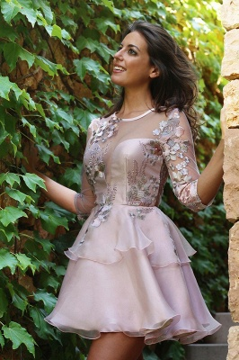 Elegant Half-Sleeve 2020 Short Homecoming Dress | Tulle Layers Short Party Dress_1