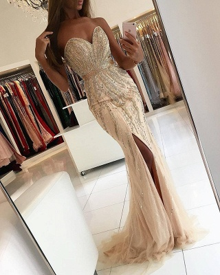 Gorgeous Sweetheart 2020 Evening Dress Mermaid Front Split With Beadings BA9009_3