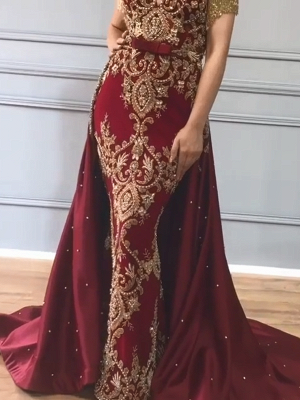 Luxury Over Skirt Mermaid Prom Dresses | V-Neck Tassel Sleeves Gold Appliques Evening Gowns BC0705_1