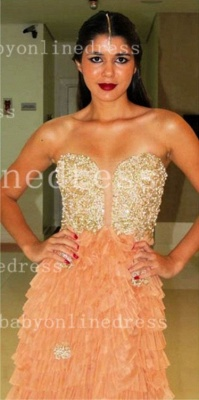 Sweetheart Prom Dresses Evening Gowns Vestidos Pearls Ruffles Floor-length Orange Golden Shining_4