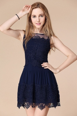 Newest Illusion Sleeveless Short Homecoming Dress With Lace_1