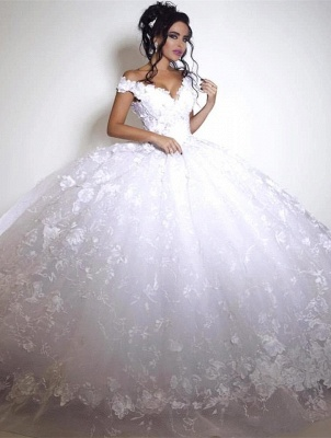 Glamorous Off-the-shoulder 2020 Wedding Dress Ball Gown tulle Appliques White_1
