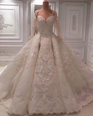 Gorgeous Long Sleeve Ball Gown Wedding Dresses | 2020 Wedding Dress With Appliques_1