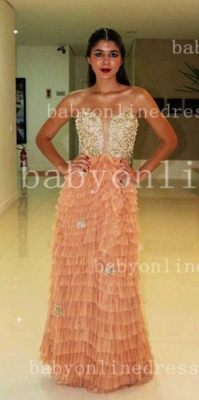 Sweetheart Prom Dresses Evening Gowns Vestidos Pearls Ruffles Floor-length Orange Golden Shining_3