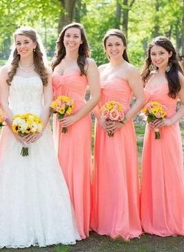 New-Arrival Simple Floor-length Ruched Strapless Bridesmaid Dresses_1