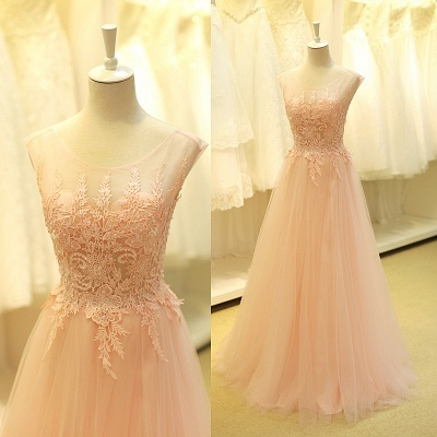 Lovely Color Cap Sleeve Tulle Prom Dress With Lace Appliques_2