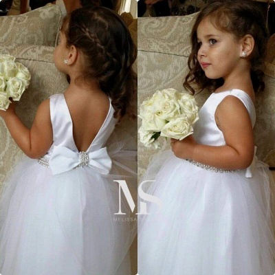 Lovely Bateau Sleeveless Tulle Flower Girl Dress With Bow Beadings_1