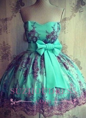 Lace Cheap Appliques Lovely Sweetheart Bowknot Short Sash Homecoming Dresses_1