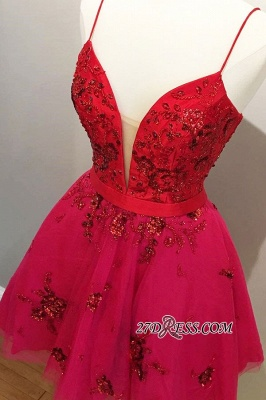 A-line Short Applique Spaghetti-straps Beaded Homecoming Dresses_1