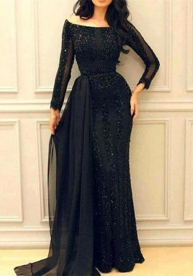 Sexy Black Long Sleeve Prom Dresses | 2020 Mermaid Sequins Evening Gowns_1